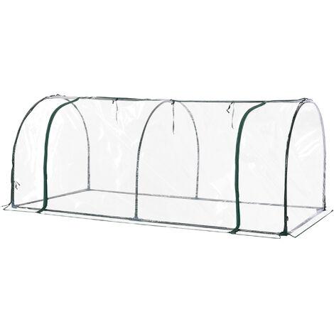 Outsunny Invernadero 200x100x80cm Acero y Plástico para Jardín Terraza y Cultivo Plantas - Transparente