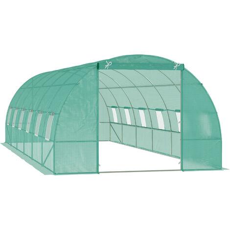 Outsunny Invernadero 8 Metros 8x3x2m Estructura Acero y Polietileno Reforzado 12 Ventanas - Verde