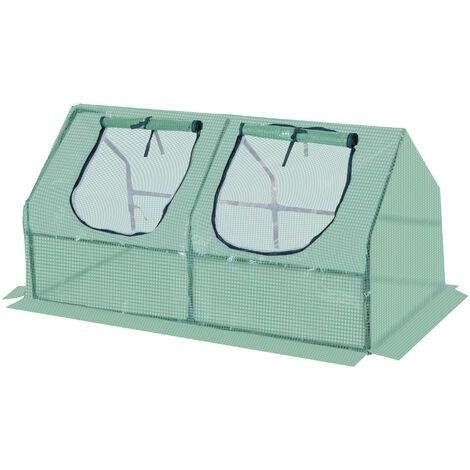 Outsunny Invernadero Caseta 120x60x60 cm Tubo Acero y Plastico Jardin Cultivo de Plantas - Verde
