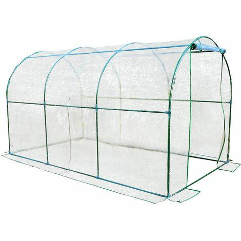Outsunny Invernadero caseta acero plastico jardin terraza cultivo plantas (varias medidas), medidas 350x200x200