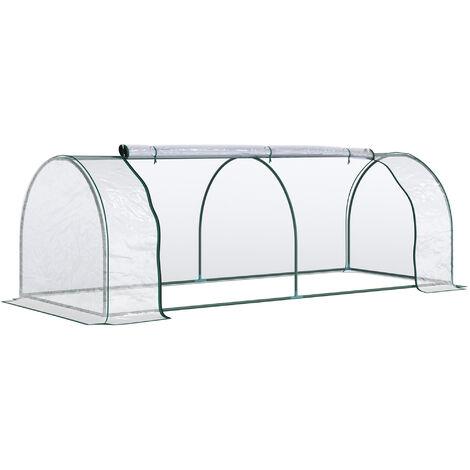 Outsunny Invernadero Caseta para Jardín Terraza Cultivo de Planta Semilla 2 Medidas Túnel - Transparente, verde oscuro