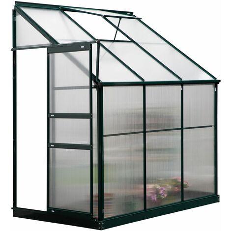 Outsunny Invernadero de Jardín 192x125x221cm con Techo Ajustable Aluminio y Policarbonato - Cubierta transparente, Marco verde