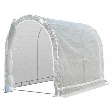 Outsunny Invernadero de Jardín 240x180x195 cm Tipo Túnel para Cultivo de Plantas de PE - Blanco