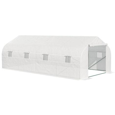 Outsunny Invernadero de Jardín 600x300x200cm Tipo Túnel para Cultivo Plantas y Verduras - Blanco