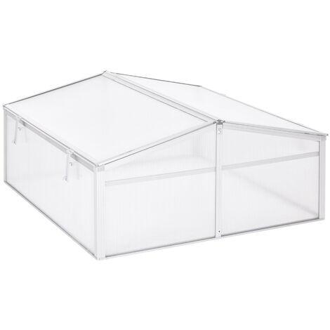 Outsunny Invernadero de Jardín Aluminio Policarbonato Transparente Vivero Casero Plantas - Transparente, Plata