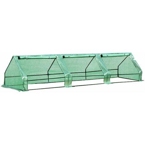 Outsunny Invernadero de Jardín con Ventanas Enrollables de Outsunny 400x100cm PE