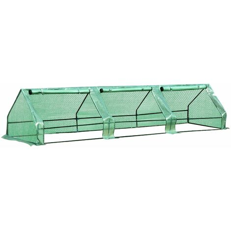 Outsunny Invernadero de Jardín con Ventanas Enrollables de Outsunny 400x100cm PE - verde