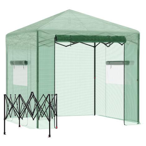 Outsunny Invernadero de Jardín Plegable Cultivo Planta 240x180x240 cm de Acero Verde - Verde
