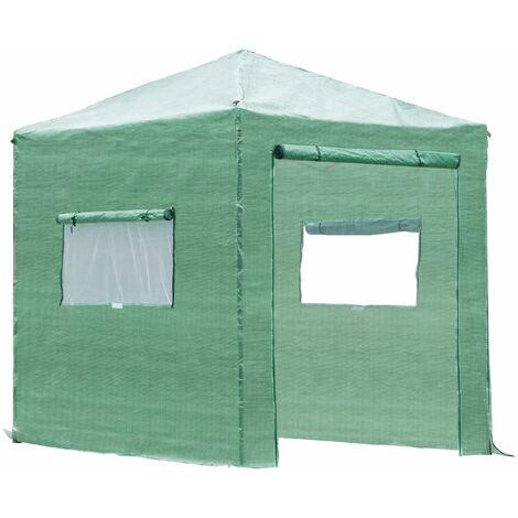 Outsunny Invernadero de Jardín Plegable Cultivo Planta 240x240x240 cm de Acero Verde - Verde