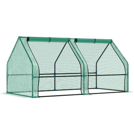 Outsunny Invernadero de Jardín Terraza para Plantas con 2 Ventanas 180x90x90 cm PE