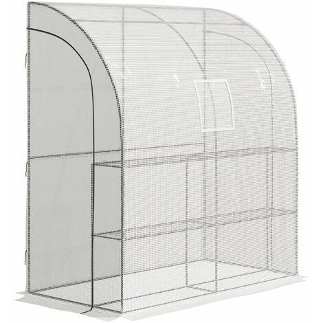 Outsunny Invernadero de Pared para Jardín con Estantes Ventana y 2 Puertas 200x100x215 cm Blanco