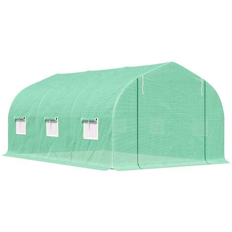 Outsunny Invernadero Túnel de Jardín 4.5x3x2m Politunel Cultivo Planta Semilla 6 Ventanas - Verde