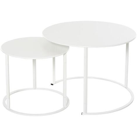 Outsunny Juego de 2 Mesas de Café Mesitas Auxiliares para Jardín Salón Φ70x50 cm Blanco - Blanco