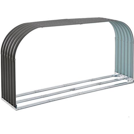 Outsunny® Kaminholzregal Außen Holzunterstand Kaminholz Stapelhilfe 0,85 m³ Stahl Grau