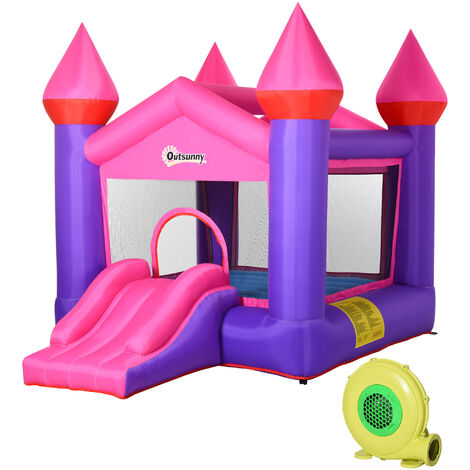 Outsunny Kids Bouncy Castle House Inflatable Trampoline House Slide 3-12 Yrs