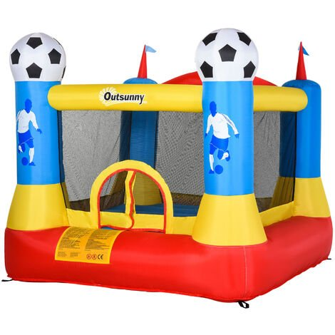 Outsunny Kids Football Field Bouncy Castle Inflatable w/ Pump Outdoor Activity