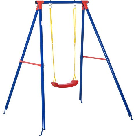 Outsunny Kids Metal A Frame Outdoor Swing w/ Adjustable Rope Playground Fun