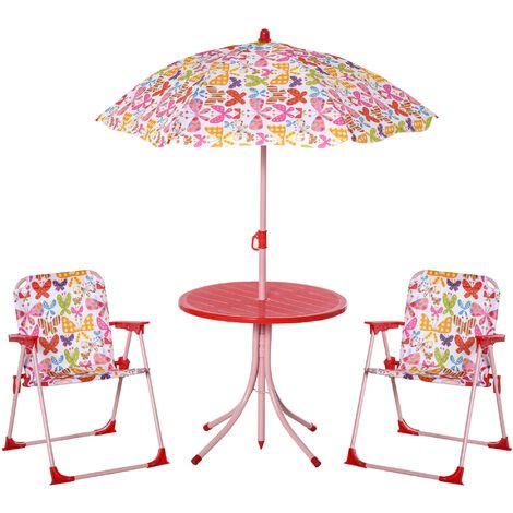 Outsunny Kids Outdoor Bistro Table Chair Set Butterfly Pattern Garden Patio Adjustable Parasol