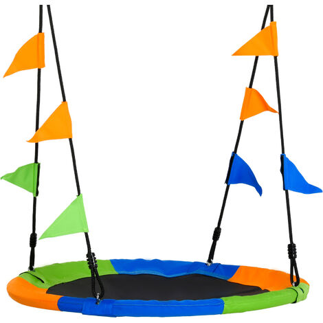 Outsunny Kids Saucer Tree Swing w/ Metal Frame Adjustable Rope Garden Seat
