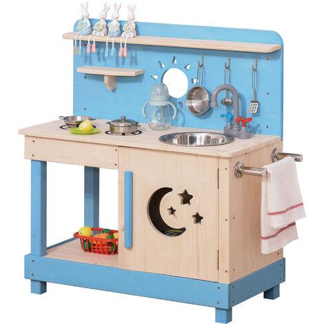 Outsunny Kids Wood Frame Kitchen Role Play Set w/ Pots Pans Storage 3+ Yrs