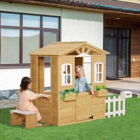 Outsunny Kids Wooden Outdoor Playhouse w/ Door Windows Bench for Kids Children