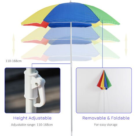 Outsunny Kids Wooden Picnic Table & Parasol Set Bright Rainbow Seat 4 Children