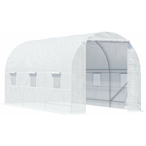 Outsunny Large Walk-in Greenhouse Poly Tunnel White
