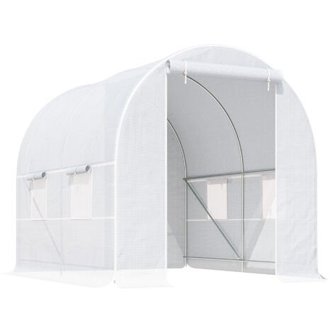 Outsunny Large Walk-in Greenhouse Poly Tunnel White (2.5L x 2W x 2H (m))