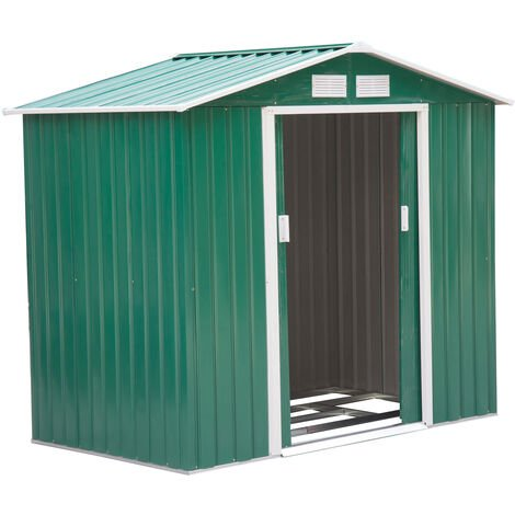 """main image of """"Outsunny Lockable Garden Shed Large Storage Sheds Box Outdoor Furniture Deep Green (6 x 4FT)"""""""