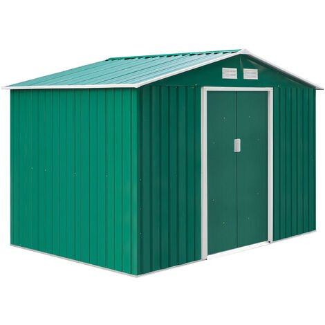 """main image of """"Outsunny Lockable Garden Shed Large Storage Sheds Box Outdoor Furniture Khaki"""""""