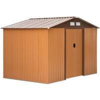 Outsunny Lockable Garden Shed Large Storage Sheds Box Outdoor Furniture Khaki