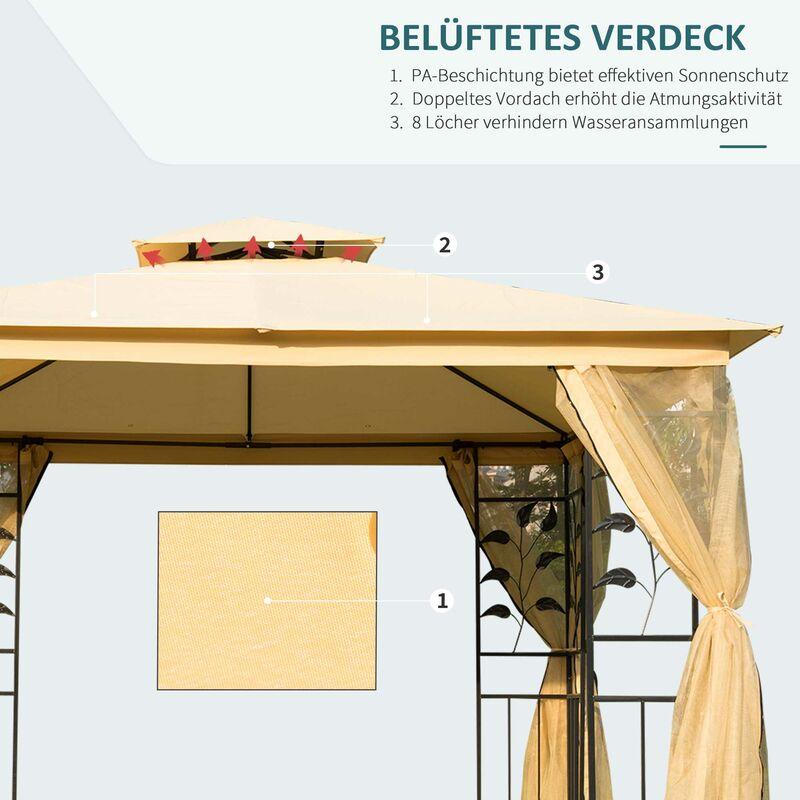 Gut bekannt Outsunny® Luxus Pavillon 3x3 m wetterfest - 01-0874 IC51