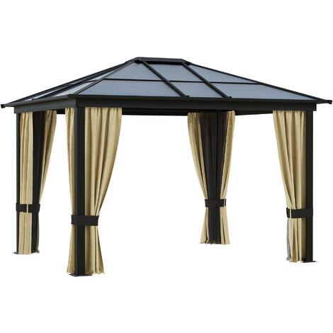 Outsunny® Luxus Pavillon Alu Gartenzelt mit lichtdurchlässigem PC Dach
