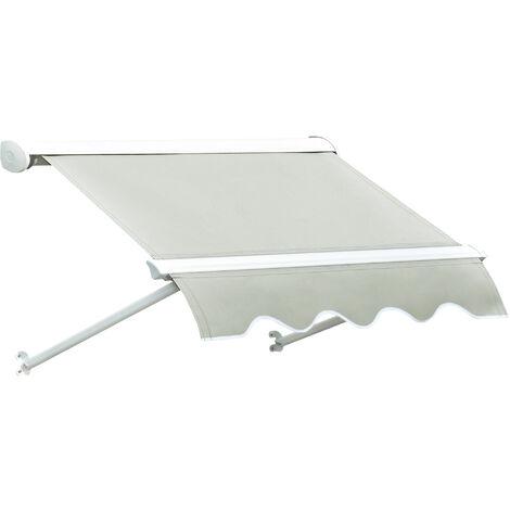 Outsunny® Markise Beige Markise Seilzug 122cm x 70cm