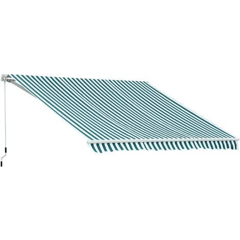 Outsunny Markise Gelenkarmmarkise Handkurbel Grün-weiß 2 95x2 5m
