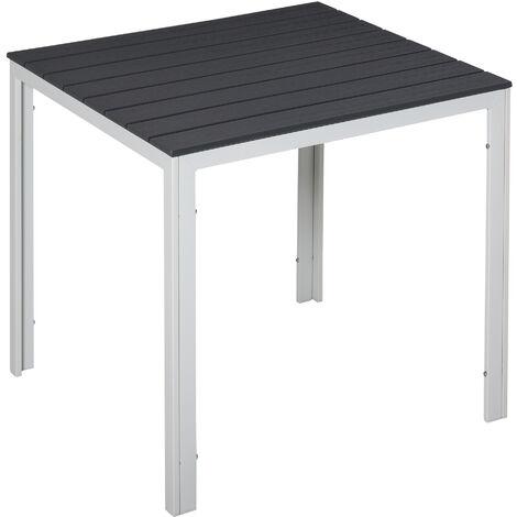 Outsunny Mesa de Jardín Cuadrada Marco Metal para Exteriores Carga Máx. 50 kg 78x78x74cm - Gris Oscuro/Gris Carbón