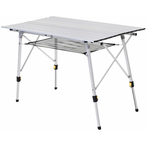 Outsunny Mesa de Picnic Plegable Altura Regulable con Estante de Malla Aluminio Plateado - Plateado