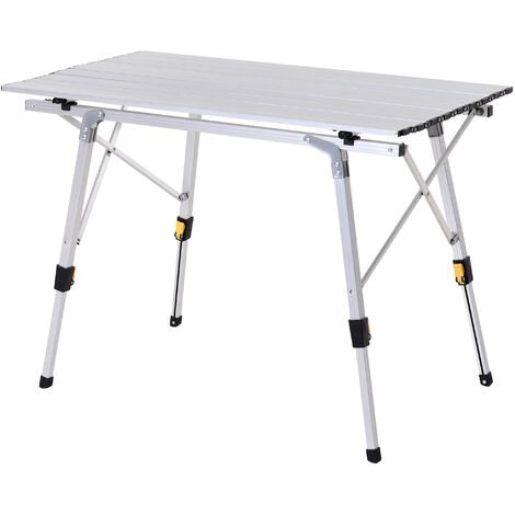 Outsunny Mesa de Picnic Plegable con Altura Regulable de Aluminio con Bolsa 30 kg Plateado - Plateado