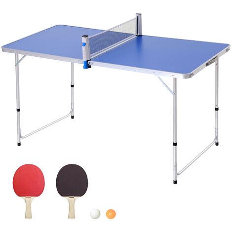 Outsunny Mesa de Ping-Pong Plegable Altura Ajustable de 3 Niveles con Palas y Pelotas - azul