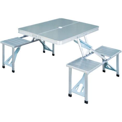 Outsunny mesa plegable aluminio camping playa picnic 4 for Mesa plegable con asientos
