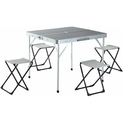 Outsunny Mesa Plegable Aluminio con 4 Sillas para Camping Picnic Convertible en Maleta