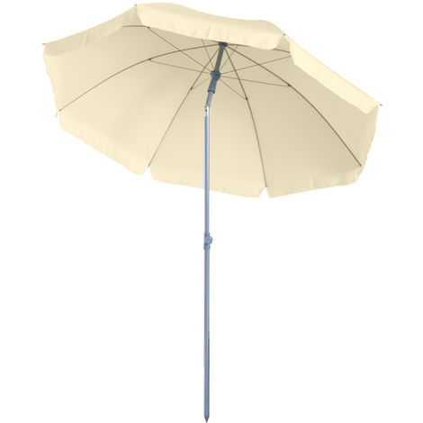 Outsunny Metal Beach Parasol Shading Tilt Sun Shelter 2.2m - Cream White