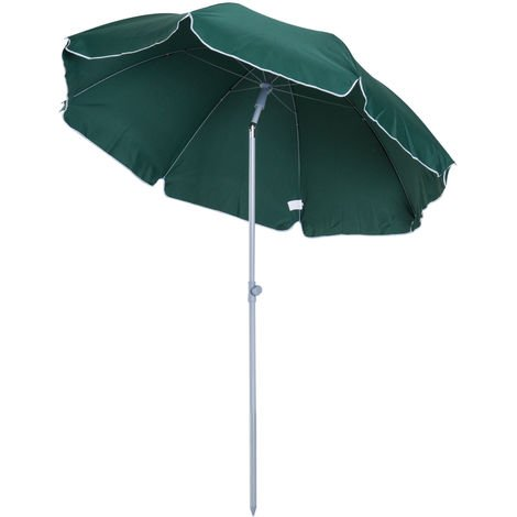 Outsunny Metal Beach Parasol Shading Tilt Sun Shelter 2.2m - Dark Green