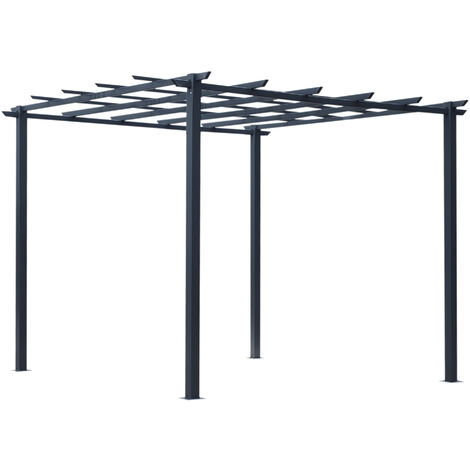 Outsunny Metal Pergola Climbing Plants Outdoor Garden Structure Gazebo 3x3(m)