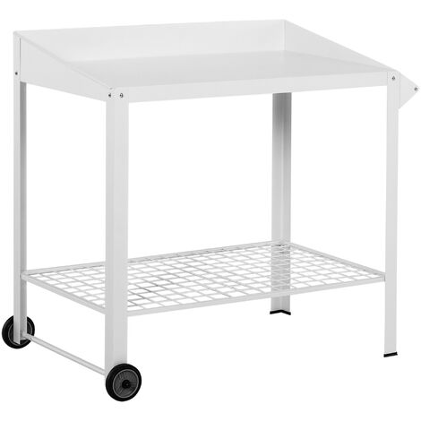 Outsunny Metal Potting Bench Table Outdoors Garden w/ Wheels, Side Hanger