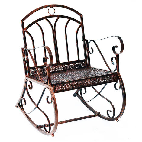 Outsunny Metal Single Chair 1 Seater Garden Rocking Chair Vintage Style Bronze