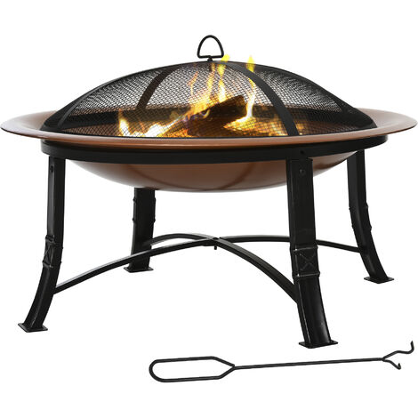 Outsunny Modern Round Outdoor Firepit Patio Heater w/ Spark Cover Log Grate Poker