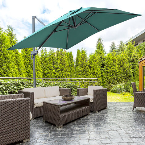 Outsunny Offset Rotating Patio Parasol Cantilever Sun Umbrella w/ Cross Base