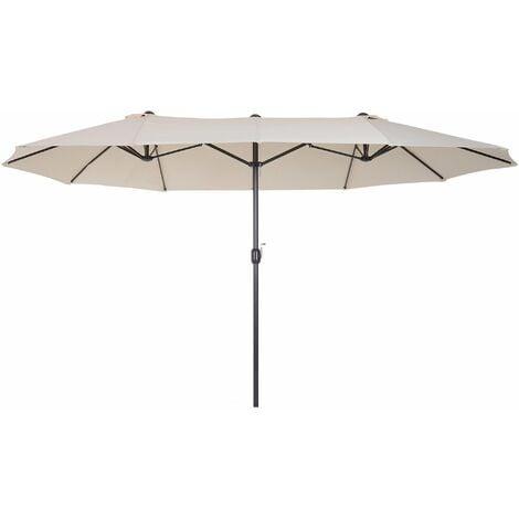 Outsunny Ombrellone Doppio Tettuccio in Poliestere Impermeabile e Anti-UV Beige 460 x 270 x 240 cm