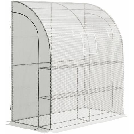 "main image of ""Outsunny On-Wall Greenhouse w/ 4 Shelves Zip Door Outdoor Garden 215x100cm"""